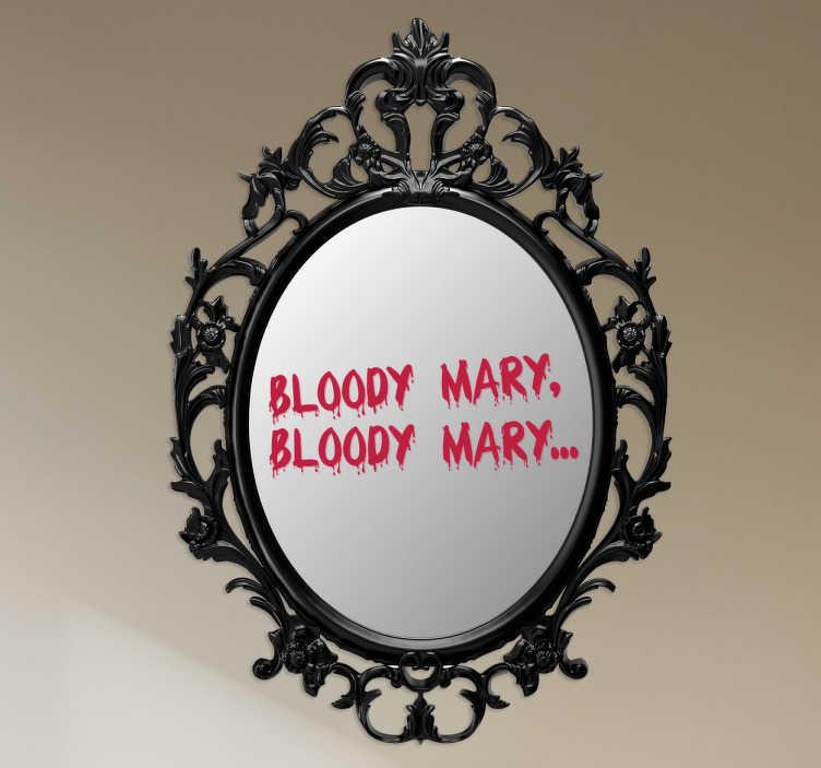 TenStickers. Adesivo specchio bloody mary. Macabra scritta adesiva in lingua inglese per l'originale decorazione dello specchio della tua camera da letto o del tuo bagno.