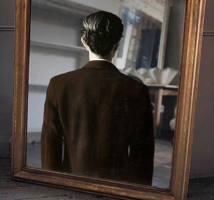 TenStickers. Adesivo specchio riflesso Magritte. Il quadro del celebre pittore surrealista Renée Magritte in un adesivo ideato per la decorazione degli specchi della tua casa.