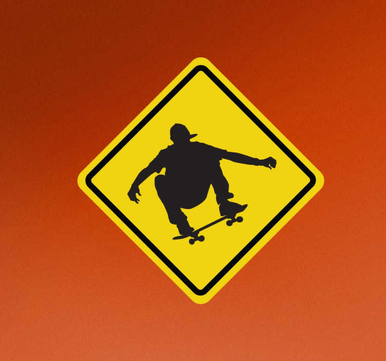 TenStickers. Skater at Work Sign Sticker. Teens room decor - Are you a skater? Warn your neighbors that you will be skating around the neighborhood. Also a danger sign for cars.