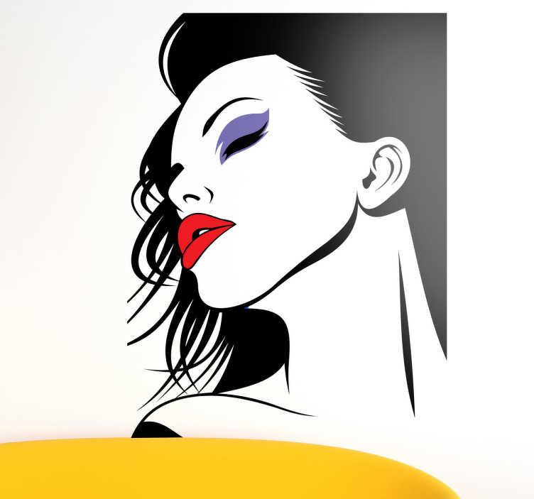 TenStickers. Autocollant mural femme bouche rouge. Stickers mural représentant une femme apprêtée aux cheveux longs et au rouge à lèvres de couleur vive.Jolie idée déco pour les murs de votre intérieur de façon simple et élégante.