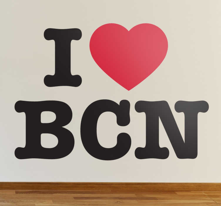 TenStickers. Muursticker I love Barcelona. Deze muursticker is een leuk en decoratief replica van het beroemde ontwerp waarmee u uw liefde voor Barcelona kunt tonen.