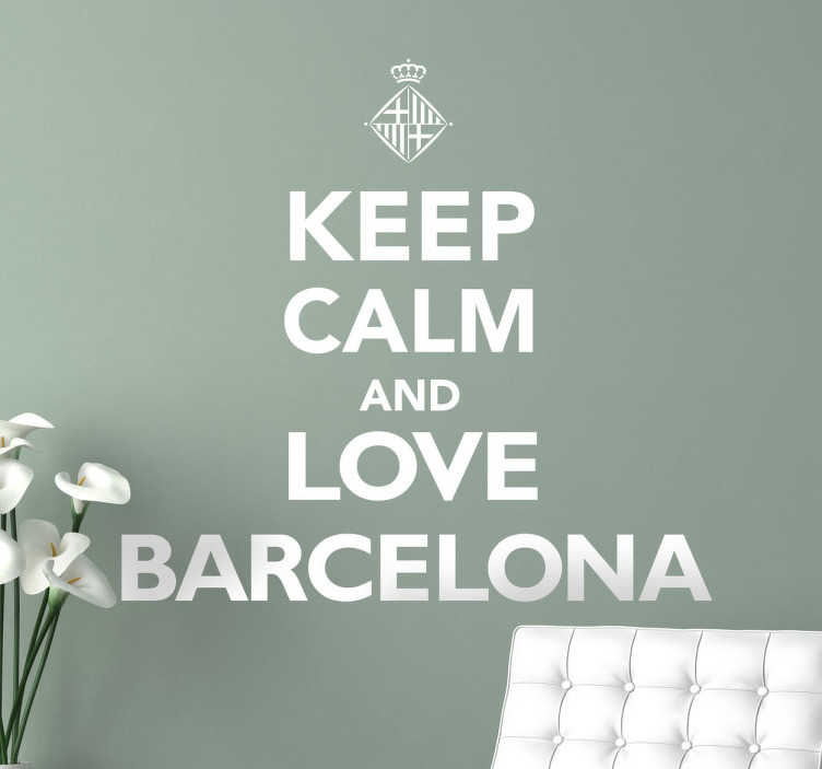 TenStickers. Keep Calm Barcelona Text. A sticker that is great for lovers of this beautiful Spanish city to place anywhere in your home.