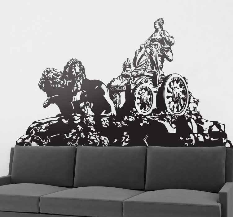 TenVinilo. Vinilo Madrid estatua de Cibeles. Ahora puedes disfrutar de una fantástica vista madrileña en tu propio hogar con este vinilo de la fuente de Cibeles.