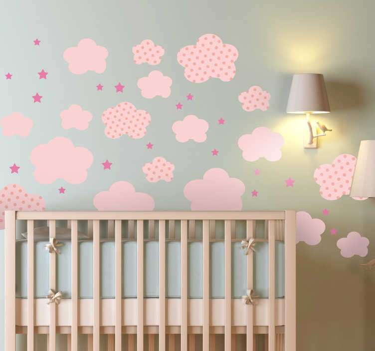 TenStickers. Pink Clouds Kids Stickers. Lovely pink sticker set including clouds and stars of different shapes and sizes. This cloud wall sticker is perfect for decorating your child's bedroom, playroom and nursery to create a peaceful and welcoming atmosphere to any room.