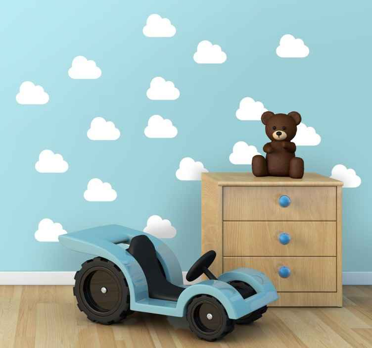 TenVinilo. Vinilos nubes sticker monocolor. Colección de vinilos de nubes iconográficas a un solo color. Escoge las medidas y el tono que deseas para decorar el cuarto de tus hijos.