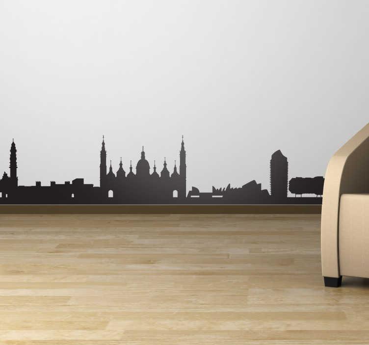 TenVinilo. Vinilos decorativos Zaragoza skyline. Perfil adhesivo de la capital aragonesa con los principales monumentos de la misma como la catedral de la Virgen del Pilar.
