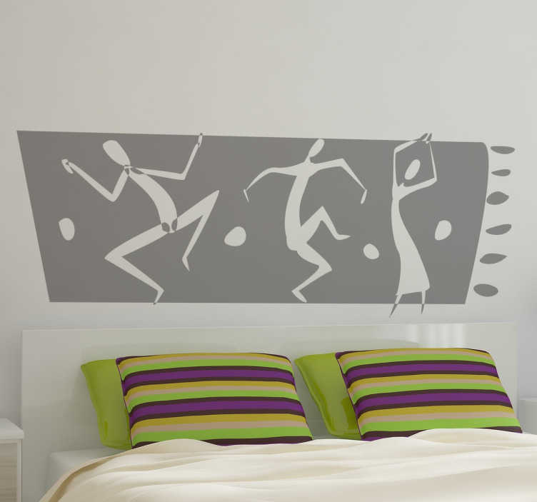 TenStickers. 非洲舞蹈边框墙贴. 墙贴-部落男人和女人跳舞的原始非洲主题设计。提供50种颜色。