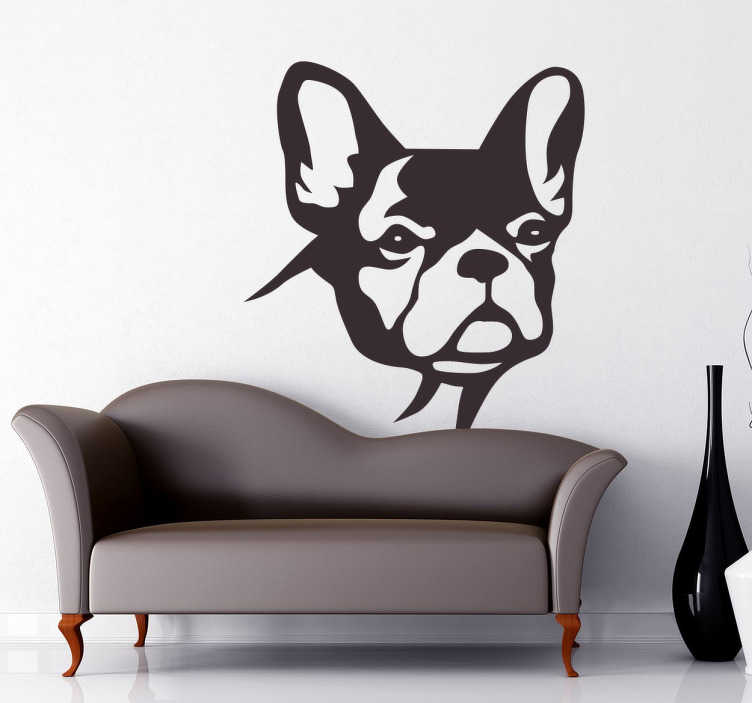 TenStickers. Watching Bulldog Wall STicker. Wall Stickers - Silhouette illustration of a cute British Bulldog. Original wall decal feature for your home or business.