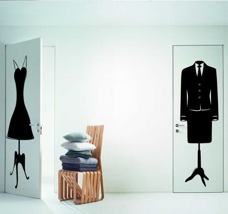 TenStickers. Women's Suit Jacket Sticker. An elegant sticker of a female mannequin wearing a smart suit with a tie.
