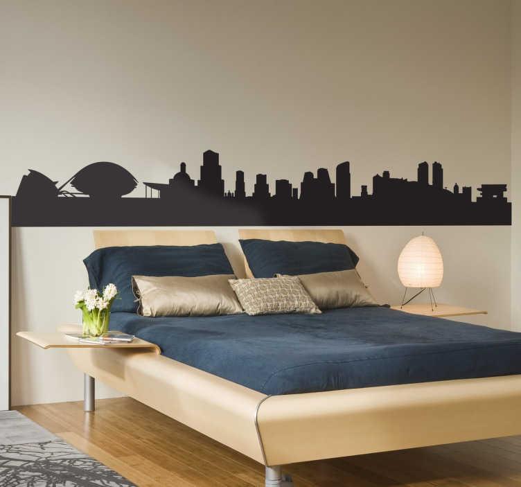 TenStickers. Wandtattoo Skyline Valencia. Gestalten Sie Ihre Wände mit dem Wandtattoo der Skyline von Valencia. Machen Sie Ihre Wand damit zum absoluten Hingucker!