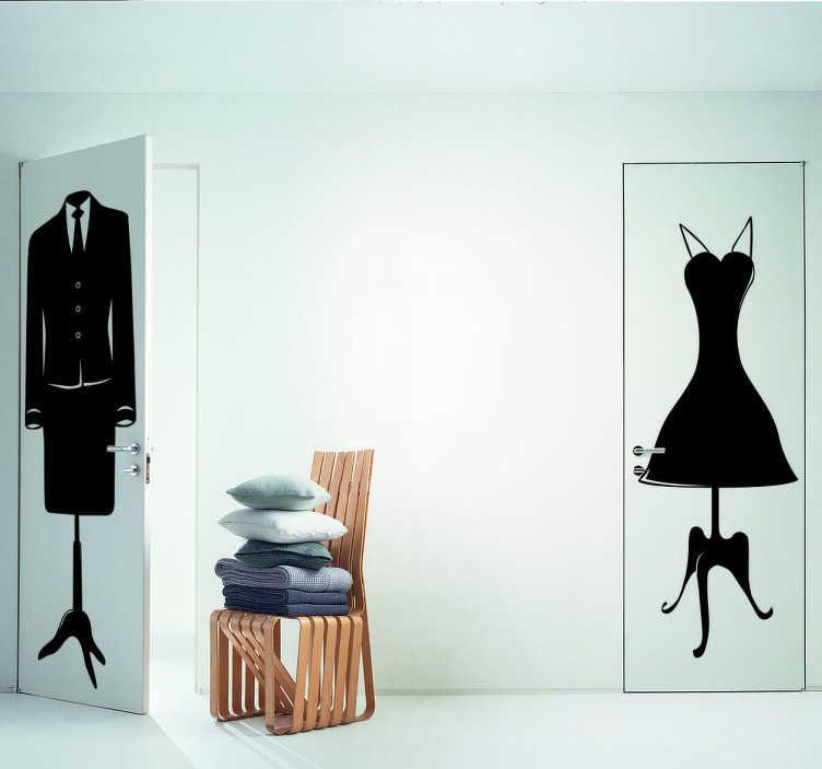TenStickers. Naklejka sukienka na wieszaku. Naklejka winylowa przedstawiająca elegancki, subtelny wzór krótkiej sukienki umieszczonej na stojaku.