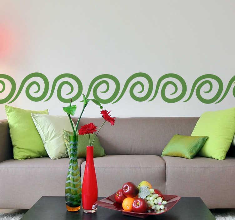 TenStickers. Naklejka spirala bordiura. Naklejka dekoracyjna w formie bordiury, przedstawiająca małe spirale inspirowane falami morskimi. Ładna dekoracja do każdego pokoju w Twoim domu.