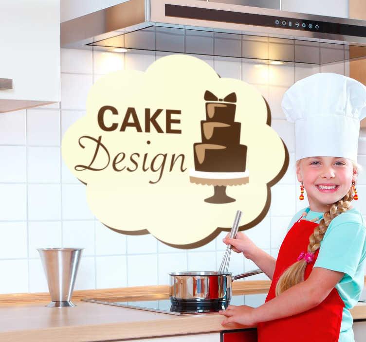 TenStickers. Naklejka projektanci tortów. Naklejka do kuchni, cukierni lub kawiarni, która specjalizuje się w wypiekach i pięknym dekorowaniu tortów.