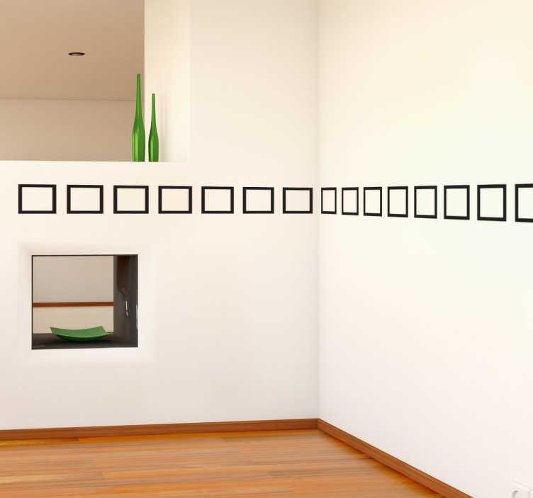 TenStickers. Friso decorativo quadrados. Autocolante decorativo com retângulos elegantes para que possa dar um toque original à sua decoração de interiores.