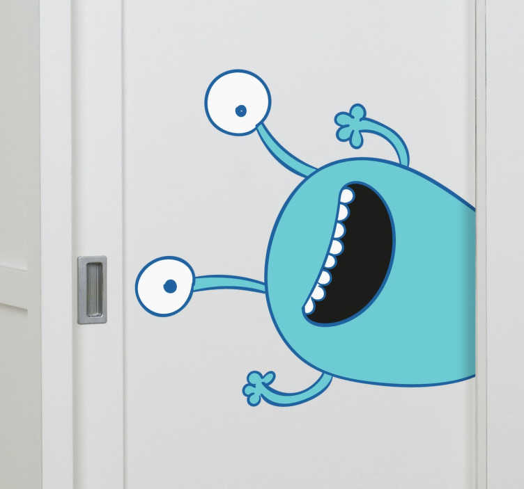 TenVinilo. Pegatina para armario monstruo azul. Vinilos infantiles para armarios con un dibujo muy especial de un monstruito de color azul y dos grandes antenas por ojos.