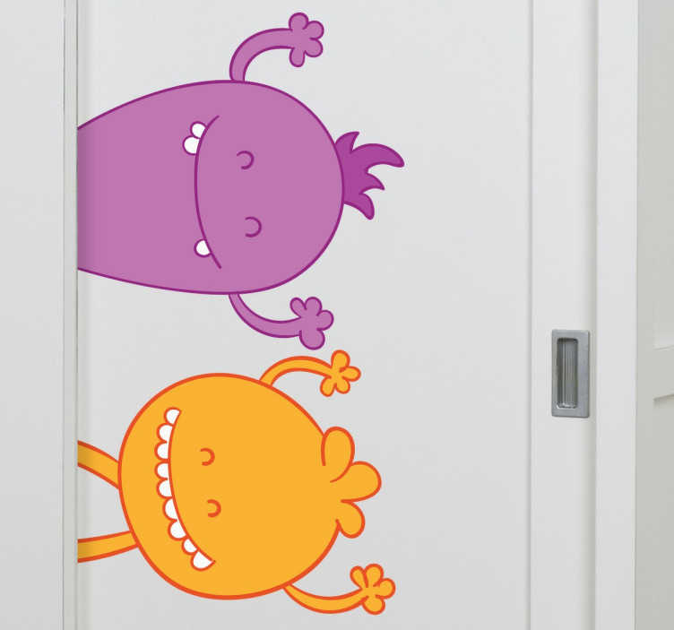 TenStickers. Wall sticker due mostriciattoli. Wall sticker per bambini decorativo che raffigura lo set di due mostriciattoli colorati.