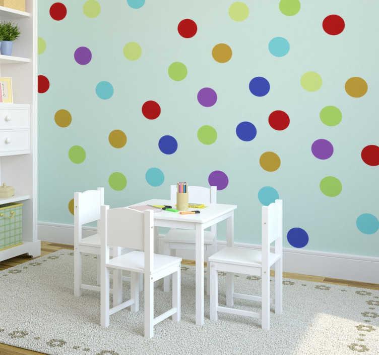 TENSTICKERS. マルチカラーのステッカー. 円形の壁の壁のステッカー - あなたの家に色とりどりの丸いステッカーを付けて楽しさと幸福をもたらします。