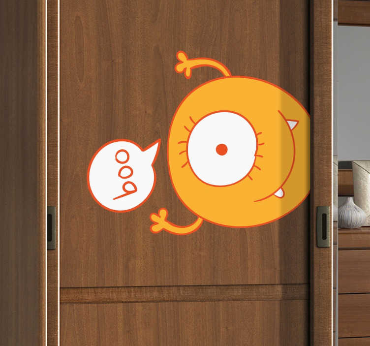 """TenStickers. Yellow Monster Wardrobe Kids Sticker. A fun illustration of an orange circular one-eyed alien saying """"boo"""". Brilliant wall decal from our collection of funny wall stickers! A creative decal to personalise your children's room. Designed by Freepik."""