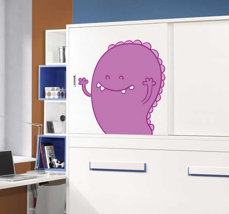 TenStickers. 보라색 괴물 키즈 스티커. 어린이 괴물 벽 스티커 컬렉션에서 친숙한 보라색 괴물을 보여주는 재미있는 스티커.