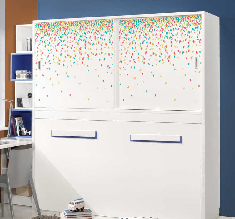 TenStickers. Naklejka spadające konfetii. Idealna dekoracja do pokoju dziecięcego imitujące sypiące się z sufitu konfetti. Znakomity pomysł na dodanie koloru dziecięcym wnętrzom.