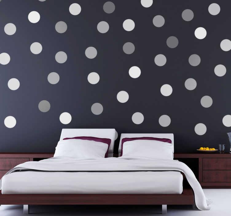 TenStickers. 장식 회색 동그라미 스티커. 집의 벽 장식용 장식 회색 원 스티커. 원형 패턴 데칼은 독특한 디자인으로 침실이나 거실에 많은 여분을 줄 것입니다.