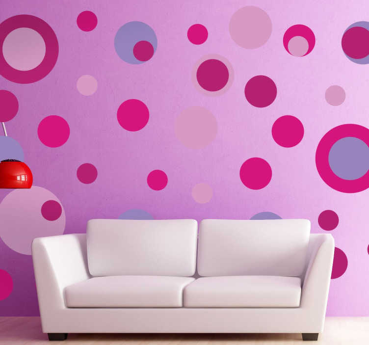 TenStickers. Pink Tones Circle Stickers. Collection of circle stickers with different sizes and pink and purple colours.