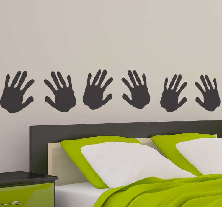 TenStickers. Hand Print Headboard Wall Decal. Headboards - Original and distinctive decoration feature above your bed. Wall sticker available in 50 colours and various sizes.