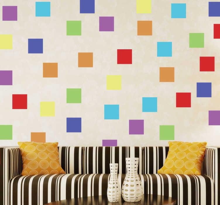 TenStickers. Wandtattoo bunte Quadrate. Personalisieren Sie Ihr Zuhause mit diesem individuellen Wandtattoo, das viele bunte Quadrate zeigt.
