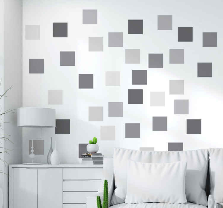 TenVinilo. Vinilo cuadrados geométricos grises. Stickers de cuadrados grises en una amplia gama des de el gris claro hasta el gris muy oscuro. Decora tu hogar, la estancia que necesites con estas pegatinas grises y crea composiciones únicas y diferentes.