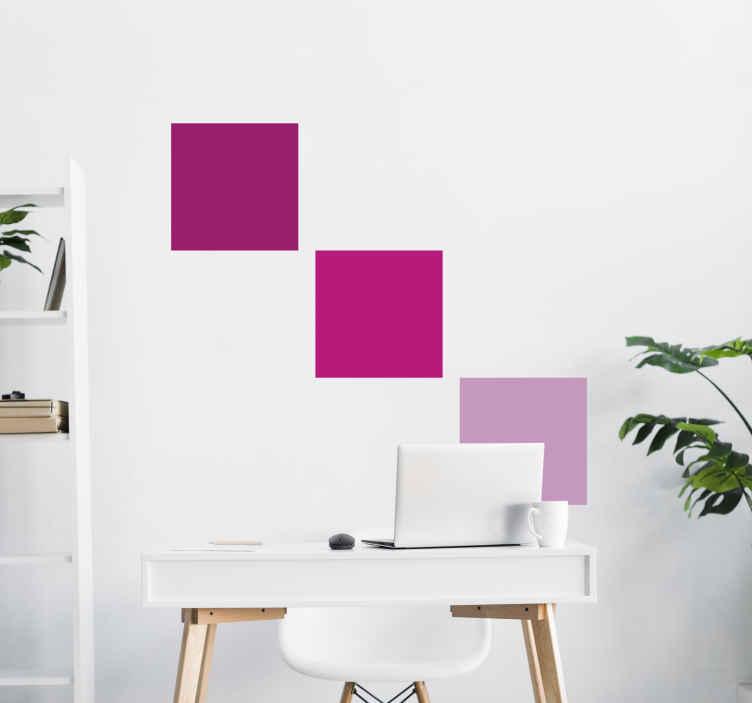 TenVinilo. vinilo cuadrados geométricos rosas. Pegatinas de cuadrados de tonalidades rosas. Decora tu hogar, la estancia que necesites con estas pegatinas rosas y crea composiciones únicas y diferentes para los más grandes o para las princesas del hogar.