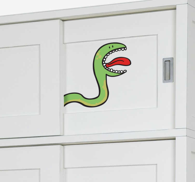 TenStickers. Kids Closet Colour Snake Decal. Kids Wall Stickers - Fun and playful illustration of a green snake. Ideal for decorating cupboards and wardrobes for children.