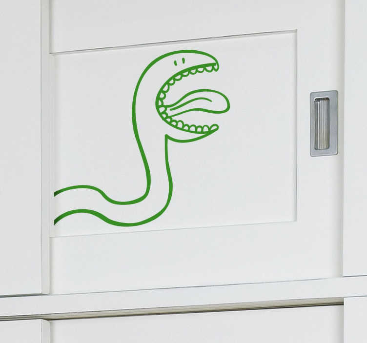TenStickers. Kids Closet Snake Decal. Kids Wall Stickers - Fun and playful illustration outline of a snake. Ideal for decorating cupboards and wardrobes for children.