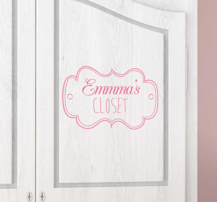 TenStickers. Kids Personalised Closet Decal. Kids Stickers - Label childrens´wardrobes with this great personalisable design. Available in various sizes and also in 50 colours.
