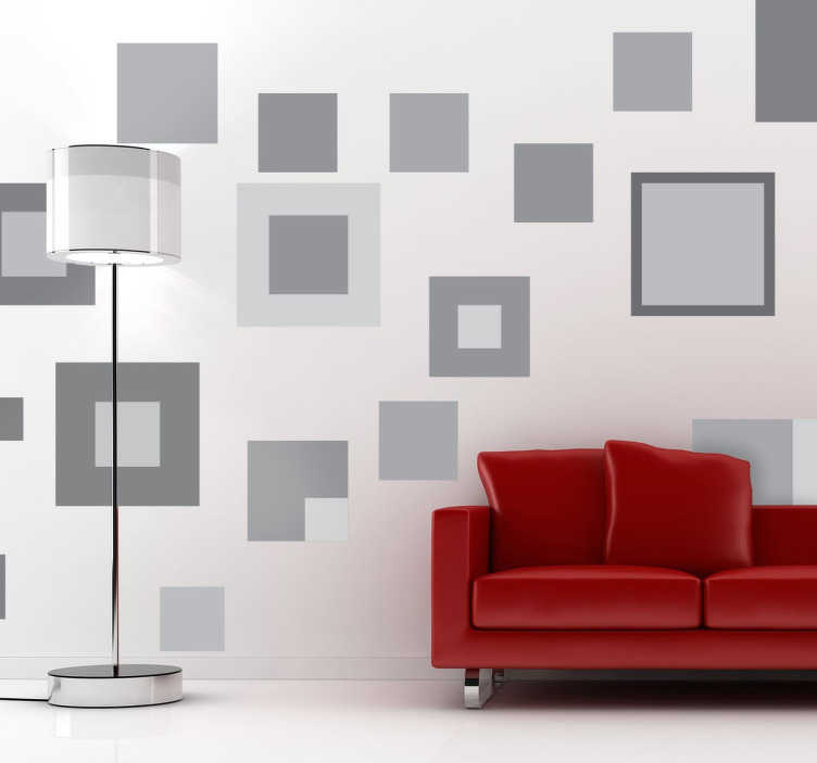 TenStickers. Grey Geometric Squares Sticker. Decorative shapes wall sticker with different sized squares and shades of grey Adds This sticker formed by different sized geometric squares allows you to create overlapping effects on your walls Furthermore, these are very easy to apply and very affordable