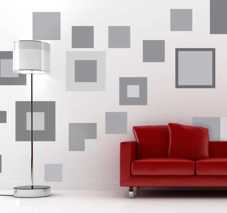 TenStickers. 회색 기하학적 인 사각형 스티커. 장식 모양 다른 크기의 사각형과 회색 음영을 가진 벽 스티커 다른 크기의 기하학적 사각형으로 형성된이 스티커를 추가하여 벽에 중복 효과를 만들 수 있습니다. 적용하기 쉽고 매우 저렴합니다.