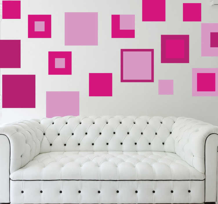 TenStickers. Wandtattoo Geometrie Quadrate. Dekorieren Sie Ihr Zuhause mit diesen tollen Wandtattoo, dass geometrische Formen zeigt. Nämlich Quader, die in pink und rosa gestaltet