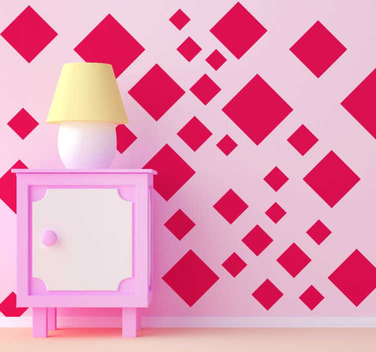 TenStickers. Wandtattoo geordnete Vierecke. Personalisieren Sie Ihr Zuhause mit diesem individuellen Wandtattoo, das gut ausgerichtete Vierecke in verschiedenen Größen zeigt.