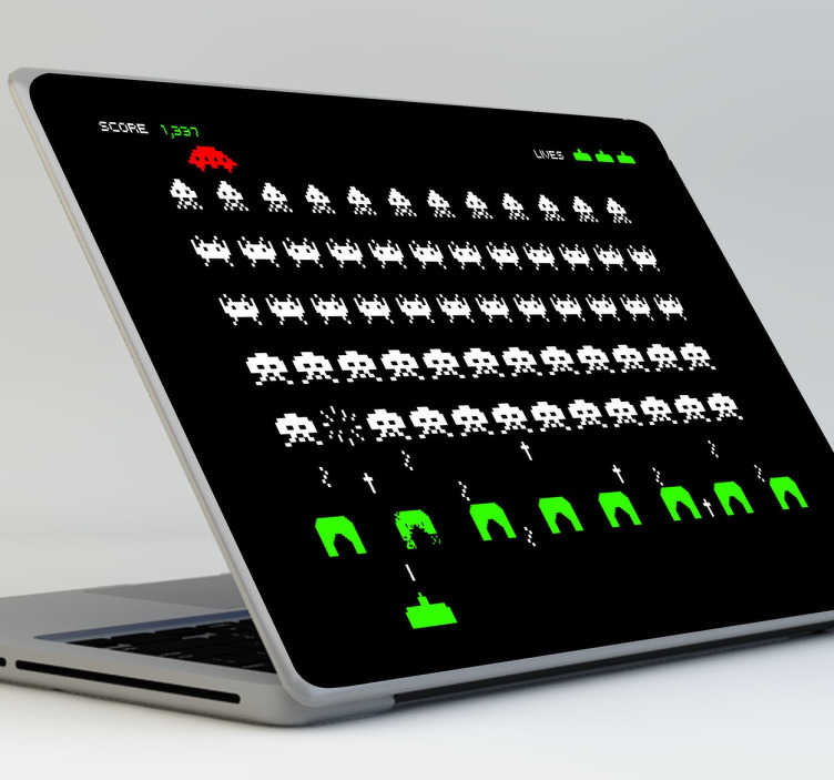 TenStickers. Space Invaders Screen Laptop Sticker. Decorative stickers for your laptop  with a recreation of this retro 80s game.