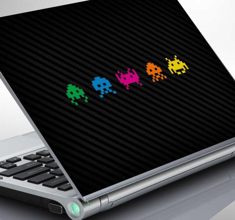 TenStickers. Laptopsticker Figuren Space Invadors. Verfraai uw laptop met deze Space Invadors sticker in 5 verschillende kleuren!