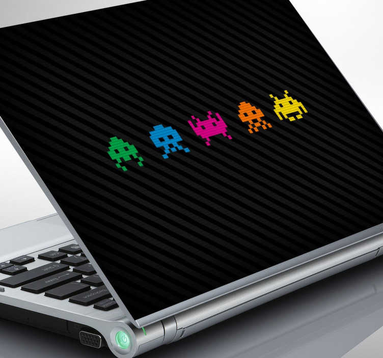 Sticker space invader ordinateur
