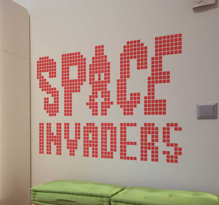 Vinilo space invaders logo píxel