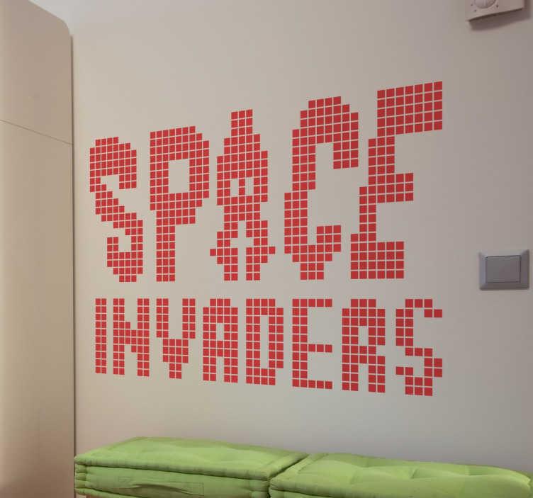 Vinilo space invaders logo píxel