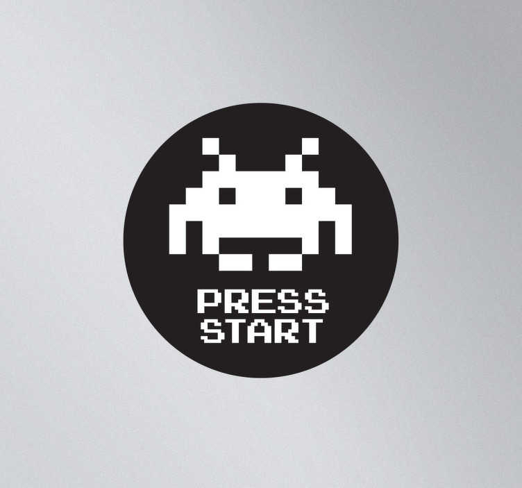 TenStickers. Sticker space invaders press start. Sticker original pour personnaliser votre portable avec ce logo Space Invaders, idéal pour les nostalgiques du célèbre jeu vidéo des 80.