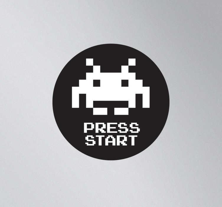 TenStickers. Space Invaders Press Start Aufkleber. Aufkleber des Retro Spiels aus den 80er Jahren, Space Invaders. Für eine Gamer-Atmosohäre . Dekoidee für Gamer und Jugendzimmer.