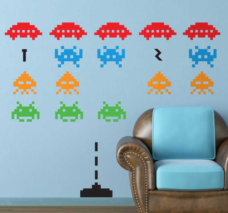 TenStickers. Space Invaders Wall Sticker. Now you can decorate the walls of your home with this creative sticker set based on the video game of your childhood.