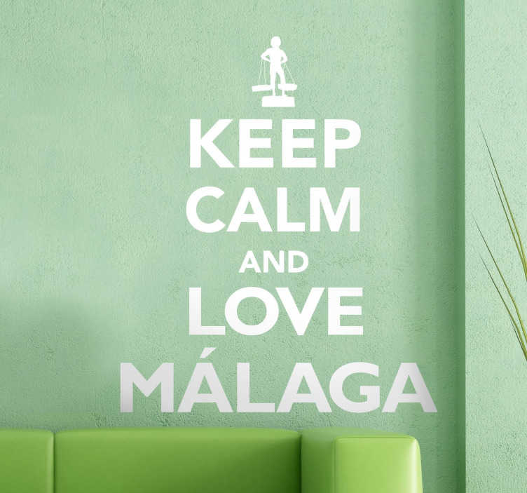 TenStickers. Keep Calm Malaga Decal. Decals-Keep Calm collection. Ideal for those who have a love for the Spanish city of Malaga. Great for personalising your walls, appliances, devices