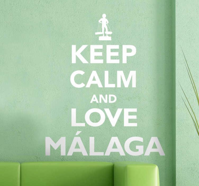 TenStickers. Keep Calm Malaga Sticker. Aufkleber aus der Keep Calm Sammlung. Ideal für alle die sich in die schöne spanische Stadt Malaga in der Provinz Andalusien erliebt haben. Dekoidee.