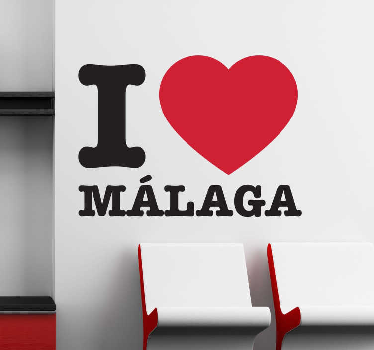 "TenStickers. Text I love Malaga with heart love sticker. Check out this text sticker that has a text ""I love Malaga"" with a heart. It is easy to apply. +10,000 happy customers on the site."