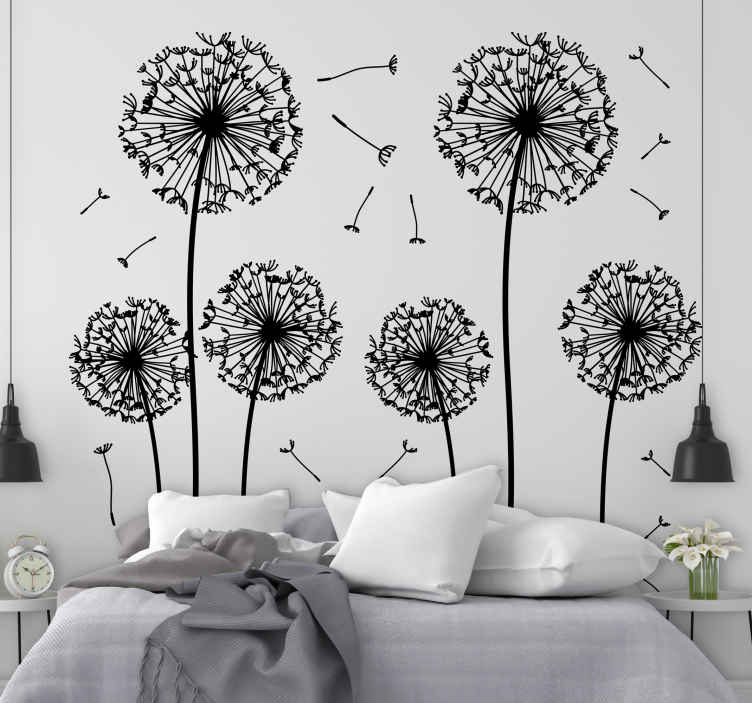 TenStickers. Dandelions Wall Sticker. Floral dandelion wall sticker from our superb collection of plant wall stickers to give your home a fresh and calm atmosphere. Six stems of various sizes to give your living room or bedroom a touch of elegance and class.