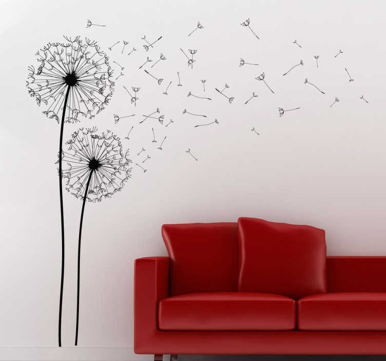 TenStickers. Dva dandelion sten art decal. Fantastično cvetlično zasnovo, ki ponazarja dve regandiji iz naše ustvarjalne zbirke nalepk stenskih sten za vašo dnevno sobo.